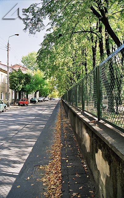 Ulica Moniuszki a przy niej park, do którego przychodziły na lekcje wychowania fizycznego dzieci z pobliskej szkoły nr 1.