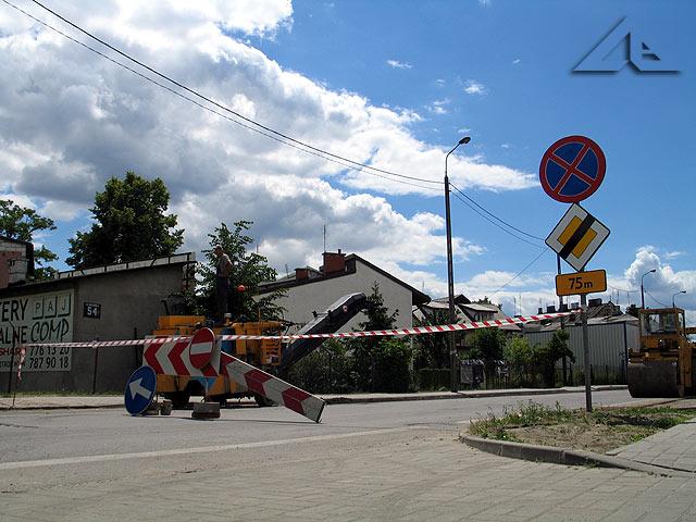 Remont odcinka ulicy Wileńskiej przy budynku firmy BJM (dawniejszym biurowcu huty szkła)
