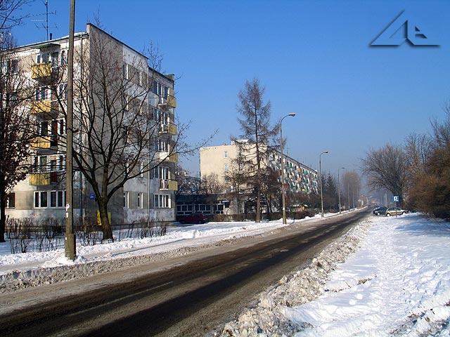 Ulica Prądzyńskiego w kierunku północnym.