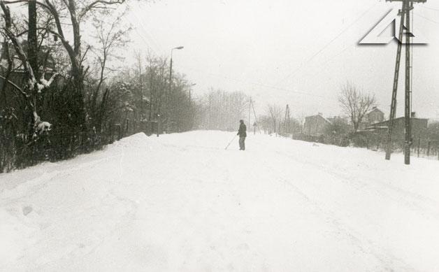 Fotografia wykonana z bramy domu Pogumirskich w kierunku Lipin Starych. Perspektywa na Aleję Niepodległości.<br>Po prawej stronie w chwili obecnej znajdują się wieżowce osiedla Niepodległości.